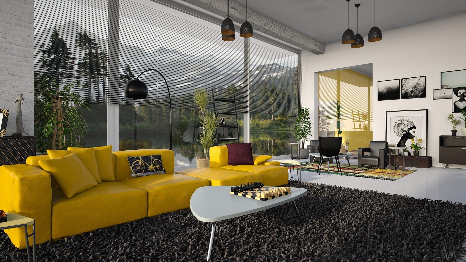 Obývák žlutá pohovka